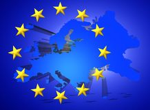 Illustration of a map of European union and EU flag illustration. Illustration of a map of European union and EU flag Stock Images