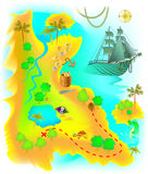 Illustration of map with fantasy Mysterious Island and pirate treasure. Royalty Free Stock Image