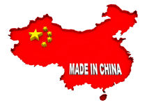 A illustration of the map and flag of china. Made in china illustration with map and flag stock illustration