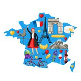 Illustration map of France. French traditional symbols and objects Royalty Free Stock Photography