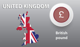 Illustration map of Great Britain, the button with the currency Royalty Free Stock Image