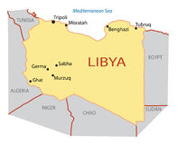 Illustration of map of Libya - vector Royalty Free Stock Images