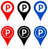 Map pointer with parking sign icons stock illustration