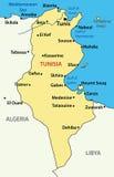 Illustration - map of Tunisia - vector Stock Image