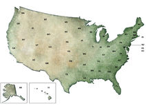 Illustration of the map of USA, United States Stock Photo