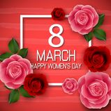 8 March. Abstract red floral greeting card. International happy women`s day with square on red background. Illustration of 8 March. Abstract red floral greeting Royalty Free Stock Photos