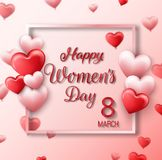 8 March. Red pink hearts greeting card. International happy women`s day with square on pink background. Illustration of 8 March. Red pink hearts greeting card stock illustration