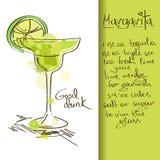 Illustration with Margarita cocktail. Illustration with hand drawn Margarita cocktail vector illustration