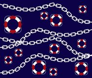 Illustration of marine buoy and chain pattern. And Blue Background Stock Images