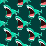 Illustration with marine issues. Whales in the sea. Fish with large mouths. Seamless pattern royalty free illustration