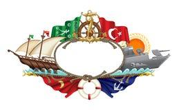 Illustration maritime turque d'icônes Image stock