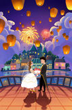 Illustration: We are Married!. The Beautiful Bride and Bridegroom lovingly Looked at Each Other on Balcony with Beautiful Scene. Realistic Cartoon Style Scene Royalty Free Stock Image