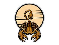 Illustration of golden scorpion mascot cartoon character in. Illustration of mascot cartoon character in Royalty Free Stock Images