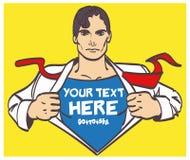 Illustration masculine de vecteur d'art de bruit d'homme d'affaires de dessin gentil de superhéros rétro avec l'endroit pour la s Photographie stock libre de droits