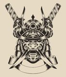 Illustration of mask warrior with swords. Illustration of mask samurai warrior with katana sword vector illustration