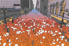 Illustration of massive crowd protesting for human rights with blank signs vector illustration