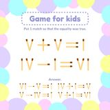 Illustration. math game for kids. Put 1 matchstick so that the equality was true. Vector illustration. math game for kids. Put 1 matchstick so that the equality vector illustration