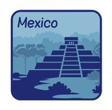 Illustration with Mayan pyramids in Mexico Royalty Free Stock Images