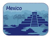 Illustration with Mayan pyramids in Mexico Stock Images