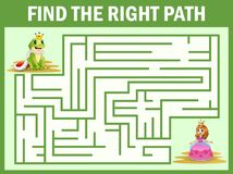 Maze game find a frog princes way to princess Stock Illustration