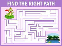 Maze game finds the frog prince way get to lake Vector Illustration