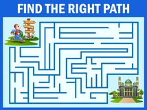 Maze game finds the man way to the mosque. Illustration of Maze game finds the man way to the mosque stock illustration