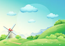 Illustration meadows with mill Stock Photography