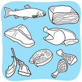Illustration of meat, fish and poultry. Drawing of meat, fish and poultry - hand-drawn illustration Stock Photo