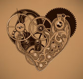 Illustration of mechanical heart. Royalty Free Stock Photo