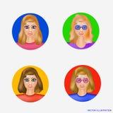 Illustration med avatarskvinnor Tecknad filmbild av en uppsättning av kvinnor Avatars för anställda, för vänner, för affär Royaltyfri Foto