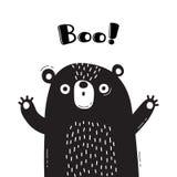 Illustration med björnen, som ropar - bu För design av roliga avatars, välkomna affischer och kort gulligt djur stock illustrationer
