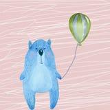 Illustration med den blåa björnen stock illustrationer