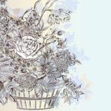 Illustration med den härlig drog buketten för vektor hand av blommor royaltyfri illustrationer
