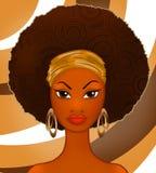 Illustration med den härliga mogna svarta kvinnan på en abstrakt bakgrund av kaffe stock illustrationer