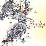 Illustration med den hand dragen fågeln, blommor, fjärilar och kli vektor illustrationer