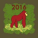 Illustration med den röda gorillan Royaltyfri Fotografi