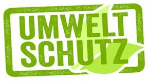 Illustration med det tyska ordet för miljöskydd - Umweltschutz vektor illustrationer