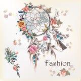 Illustration med dreamcatcher och blommor Hand dragen design Royaltyfri Bild