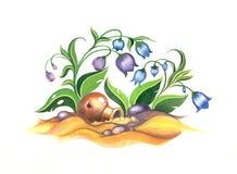 Illustration med en tillbringare och blåklockor Royaltyfri Bild