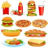 Med en uppsättning av snabbmat- och ketchuppitseyen Arkivfoton