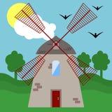Illustration med en väderkvarn royaltyfri illustrationer