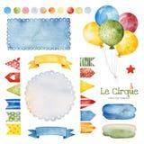 Illustration med färgrika luftballons, bunting flaggor, bandbanret, färgstänk och mer royaltyfri illustrationer