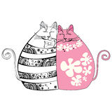 Illustration med förälskade katter Stock Illustrationer