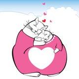 Illustration med förälskade roliga katter Serie av komiska katter Stock Illustrationer