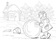 Illustration med flickan, huset och julgranar vektor illustrationer