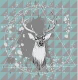 Illustration med hjorthuvudet tecknad handvektor Royaltyfri Fotografi