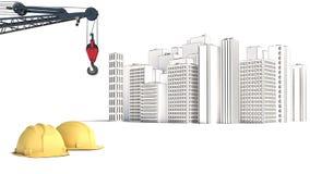Illustration med husbyggnad och kranar vektor illustrationer