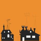 Illustration med katter på taket Arkivbild