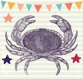 Illustration med krabban Arkivbilder