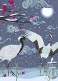 Illustration med kranar på natten i vinter royaltyfri illustrationer